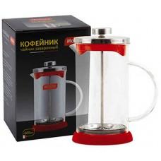 Чайник/кофейник (кофе-пресс) стеклянный, 600 мл, серия Rubino,  цвет - красный MALLONY