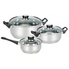 Набор посуды из 6 предметов BAKS-SET-6 из нерж стали (2 кастр+ковш) с крышками: 2,0/2,8 л+1,4л)