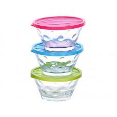 80589 Набор контейнеров  стекло 3 шт х200мл MB (х15)розовый+голубой+салатовый