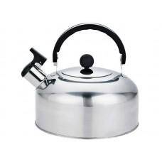 Чайник Casual, объем 2 л, из нерж стали со свистком, зеркальная полировка, без тм
