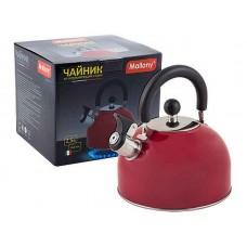 Чайник из нерж. стали MAL-039-R, 2,5 литра, красный, со свистком