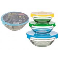 Набор из 3 стеклянных мисок с крышками INSALATO (360/510/920мл)
