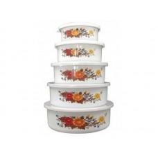 Набор из 5 эмалированных мисок с крышками, FAMILIA, 195/340/600/850/1250 мл, цвет: белый с дизайном