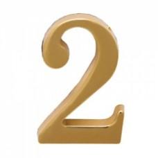 Цифра дверная АЛЛЮР  2  на клеевой основе золото (600,2)