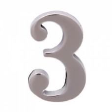 Цифра дверная АЛЛЮР  3  на клеевой основе хром (600,2)