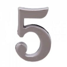 Цифра дверная АЛЛЮР  5  на клеевой основе хром