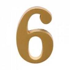 Цифра дверная АЛЛЮР  6  на клеевой основе золото