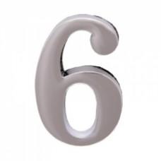 Цифра дверная АЛЛЮР  6  на клеевой основе хром