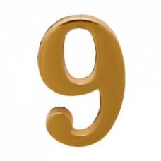Цифра дверная АЛЛЮР  9  на клеевой основе золото