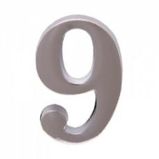 Цифра дверная АЛЛЮР  9  на клеевой основе хром