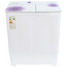 Стиральная машина WILLMARK WMS-65G Белое стекло, фиолетовые цветы (загрузка белья 6,5кг,1350 об/мин,стекл .крыш, насос.) Белое стекло, фиолетовые цветы