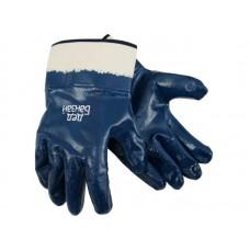 Перчатки х/б с полным нитриловым обливом, манжета -крага, Дед Банзай,6 ПАР/УПАК, разм. 10, темно-синий. (120)