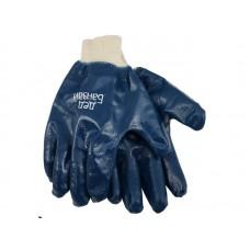 Перчатки х/б с полным нитриллвым обливом, трикотажный манжет Дед Банзай, 6 ПАР/УПАК, разм. 10, темно-синий. (120)