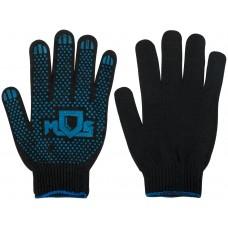 Перчатки вязаные черные х/б с ПВХ 4 нити, 10 класс вязки