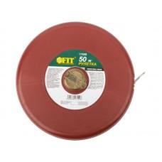 Рулетка землемерная 50м фиброглассовая лента,красная (30шт/уп)