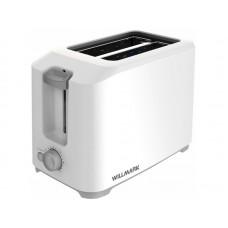 Тостер WILLMARK WTS-9218P (800 Вт.,7 степ.обжар.,2 отдела,поддон для крошек, центр. тостов) Белый