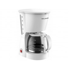 Кофеварка капельная WILLMARK WCM-1350D (900 Вт.,противокап.сист.,нейл.фильтр.стекл.кувш.1,2л.) Белый