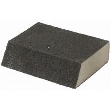 Губка шлифовальная угловая, алюминий-оксидная, 100х70х25мм, средняя жесткость, Р80 (500шт/уп)