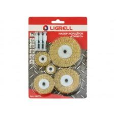 Набор корщёток LIGRELL колесо 25, 38, 50, 63, 75мм, для дрели ст.проволока 0,3мм  с штифтами (38572L)