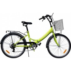 Велосипед Torrent Discоvery + корзина, Зеленый (рама сталь 16  складная, дорожный, 1скорость, колеса 24д.) 24  / 16  / Зеленый