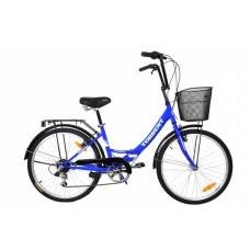 Велосипед Torrent Discоvery 7 + корзина, Синий (рама сталь 16  складная, дорожный, 7 скоростей, SHIMANO, колеса 24д.) 24  / 16  / Синий