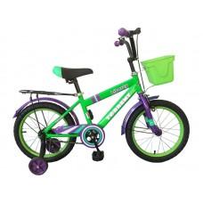 Детский велосипед TORRENT Liberty (добавочные колёса,1скорость, колеса 16 д, рама сталь, корзина) 16  / 10,5  / Зеленый