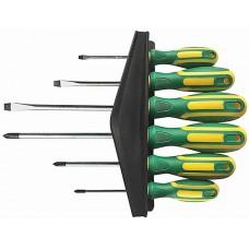 Отвертки  Контур  6шт, CrV сталь, прорезиненные ручки, магнитный наконечник, на держателе