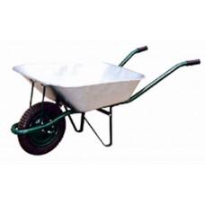 Тачка садово-строительная WB6203, зеленая, 65л., грузоподъемность 150кг, колесо  13 х3  (330/76мм, 16/90мм). Толщина корыта 0,6мм. диаметр рамы 32мм, толщина рамы 1,2мм.
