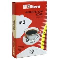 Filtero фильтры для кофе, №2/40, белые для кофеварок с колбой на 4-8 чашек