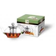 Чайник для заваривания 450 мл из стекла с ситом и крышкой из нержавеющей стали TC -205
