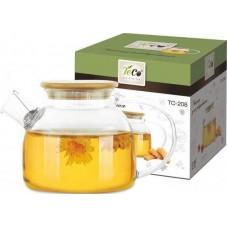Чайник для заваривания 850 мл из стекла c крышкой  из бамбука TC -208
