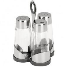 VS-8607 Солонка и перечница с держателем для зубочисток VITESSE